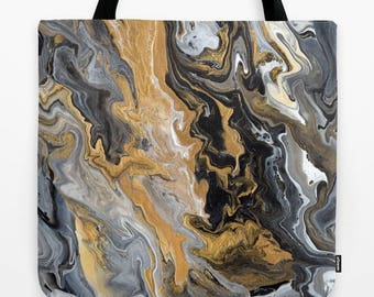 Black and Gold Tote Bag, Gold Vein Marble, modern designer, marbled paint, abstract modern tote, gym bag, grocery tote, teacher gift