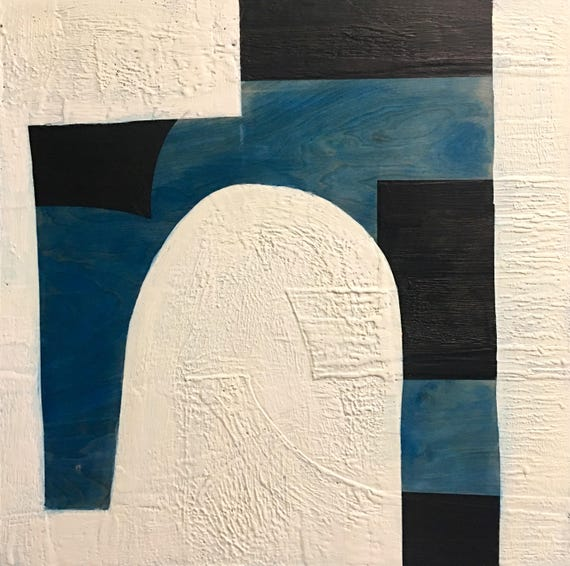 """Sorry, this one is SOLD Almost Blue,  24"""" square encaustic painting"""