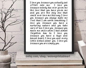 ON SALE Love Art Print, I Love You Because, Love Printable Art, Love Quote Sign, Love Wall Art, Love Sign, Love Quote Print, Love Gift Idea