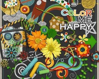 ON SALE NOW 65% off Color Me Happy Digital Scrapbook Element Pack