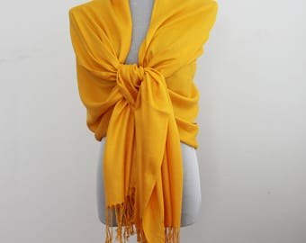 Wedding Scarf, Golden Yellow Pashmina Scarf, Bridesmaid Scarf, Bridesmaid Shawl Wrap, Wedding Wrap, Wedding Shawl, fall scarf, autumn scarf,
