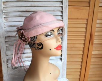 Vintage. Pink/wool type/veil/beautiful jewel/hat. Winter hat. Cute hat!