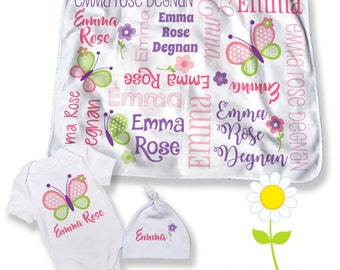 Butterfly Personalized Receiving Blanket, Bodysuit, Hat in Pink & Purple - Custom Name Baby Blanket for Girls - Baby Shower or Newborn Gift