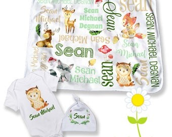 Personalized baby blankets bedding bath by thedreamydaisy woodland personalized baby blanket bodysuit hat custom name forest animal swaddle set with negle Images