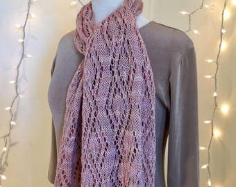 Pink trellis scarf, hand dyed, hand knit, merino, bamboo