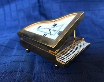 Miniature Piano Bulova clock