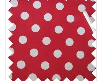 Cotton fabric large white polka dots on red 60 cm x 120 cm