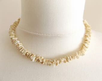 Beautiful Vintage 1960's Shell Chip Choker Necklace.
