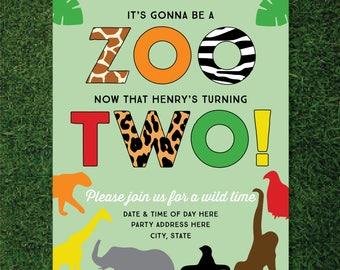 Boys Zoo Themed 2nd Birthday Invitation (Animals / Safari / Jungle Theme)