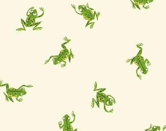 Kinder Frogs in White by Heather Ross for Windham Fabrics - 1/2 Yard