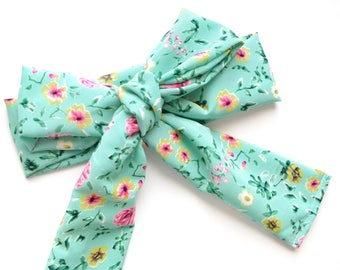 Mint Floral Head Scarf
