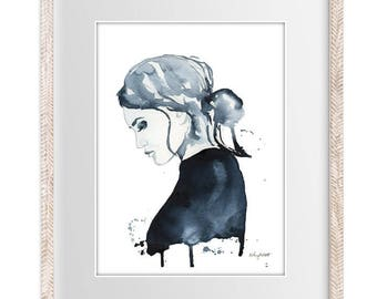 Watercolor Painting Print 'Reflection' -- Fashion Illustration Home/office decor and wall art