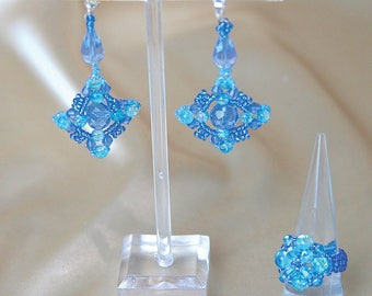 Delicate blue glass crystal beaded earring and ring set