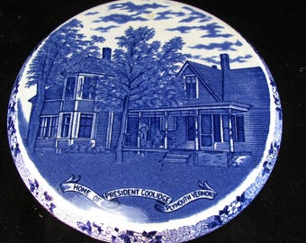 Antique Presidential Blue And White Souvenir Trivet, Calvin Coolidge Vermont Home, W. Adams & Sons Antique 1920s Ironstone,