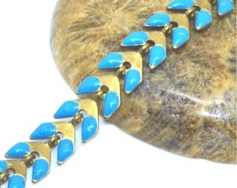 turquoise spike brass mesh chain 50cm