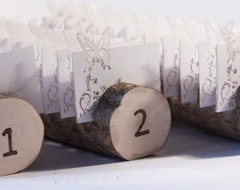 3 pcs Log place card holders,  Rustic wedding  decor, Guest Card Holders, woodland wedding centerpieces, place card stand, name tag holder