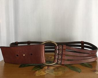 Brown Leather Belt Strappy Wide Vintage Banana Republic Women's Medium