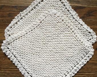 Cotton Knit Dish Cloths,  Natural knit dishcloth, hand knit dish rags, Ecru Cotton knit dishcloths, Cotton dishcloth