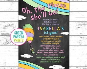 Oh The Places You'll Go Birthday Invitation - Girl's Birthday Invitation Printable - First Birthday - Any Age - Oh The Places She'll Go