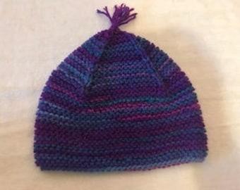 Hand Knit Garter Stitch Toddler Hat and Mittens