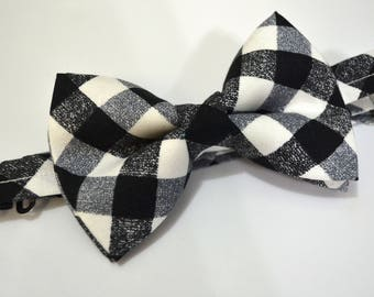 Black Cross Check Bow Tie For Boy/Baby/Teen/Adult/With Adjustable strap/Clipon