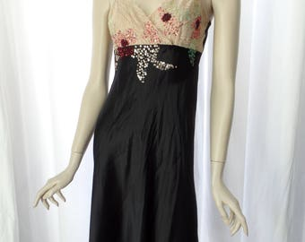 vintage TARA JARMON black silk and nude lace slip dress/ scattered sequin and glass bead embellishment: Size 38- fits US 6/8 woman