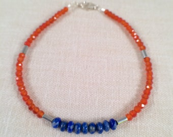 Vibrant Carnelian and Lapis Beaded Gemstone Bracelet