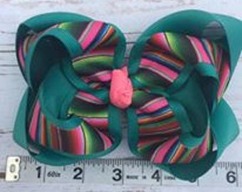 Serape hair bow- Jade