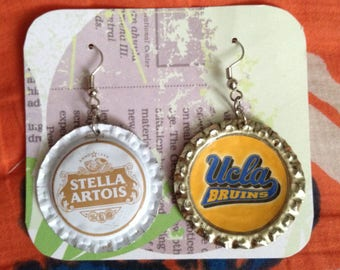 Put Your Favorite Team on Your Earrings! Hand-made Bottle Cap Earrings