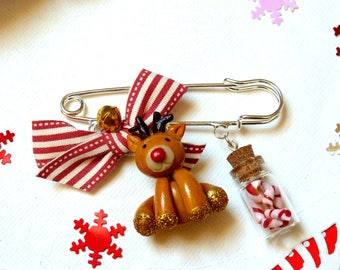Reindeer brooch * Christmas edition * made of polymer clay