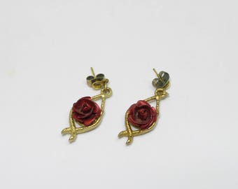 Vintage Red rose and gold colored Dangle Earrings