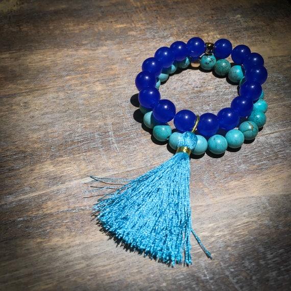 Mini wrist mala beaded bracelet stack with tassel: blue agate & turquoise (mens, womens, unisex, kids)