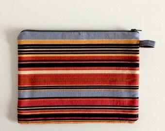 Striped Makeup Bag, Travel Pouch, Cosmetic Bag, Gadget Pouch, Purse Organizer Pouch, Large Zipper Pouch