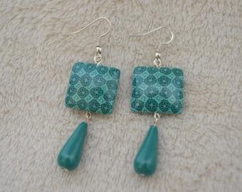 Dangling earrings - blue / green - geometric / mandala/polymer clay