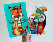 Large colorful postcard  illustrated by Kim Durocher