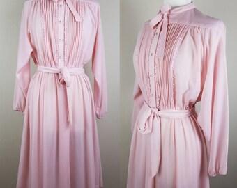 Pink secretary dress - 1980s pink day dress - pink long sleeve dress