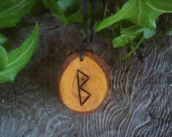 Rune Necklace - Wood Rune Necklace - Fertility Necklace - Rune Jewelry - Fertility Jewelry