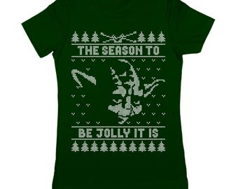 Jolly Yoda Ugly Christmas Sweater Funny Xmas Humor Star Wars Party Outfit Women's Jr Fit T-Shirt DT1640