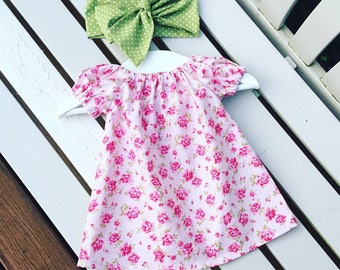 Pretty floral BABY GIRLS dress in 100% cotton pale pink rose flower fabric in ages 0-3 months 3-6 months 6-12 months - Can be personalised