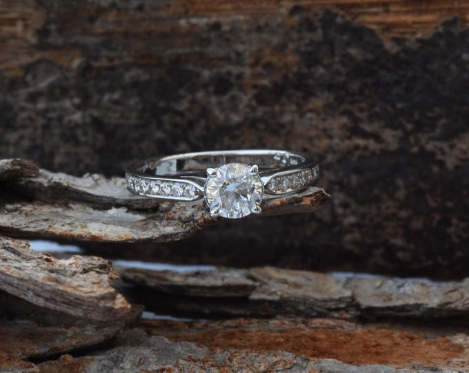 ON SALE 1 carat diamond ring !!!White Gold Engagement Ring -Diamond Engagement Ring -White Gold Ring-Art deco engagement ring-Bridal Jewelry