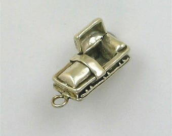 Sterling Silver 3-D Open Coffin Charm