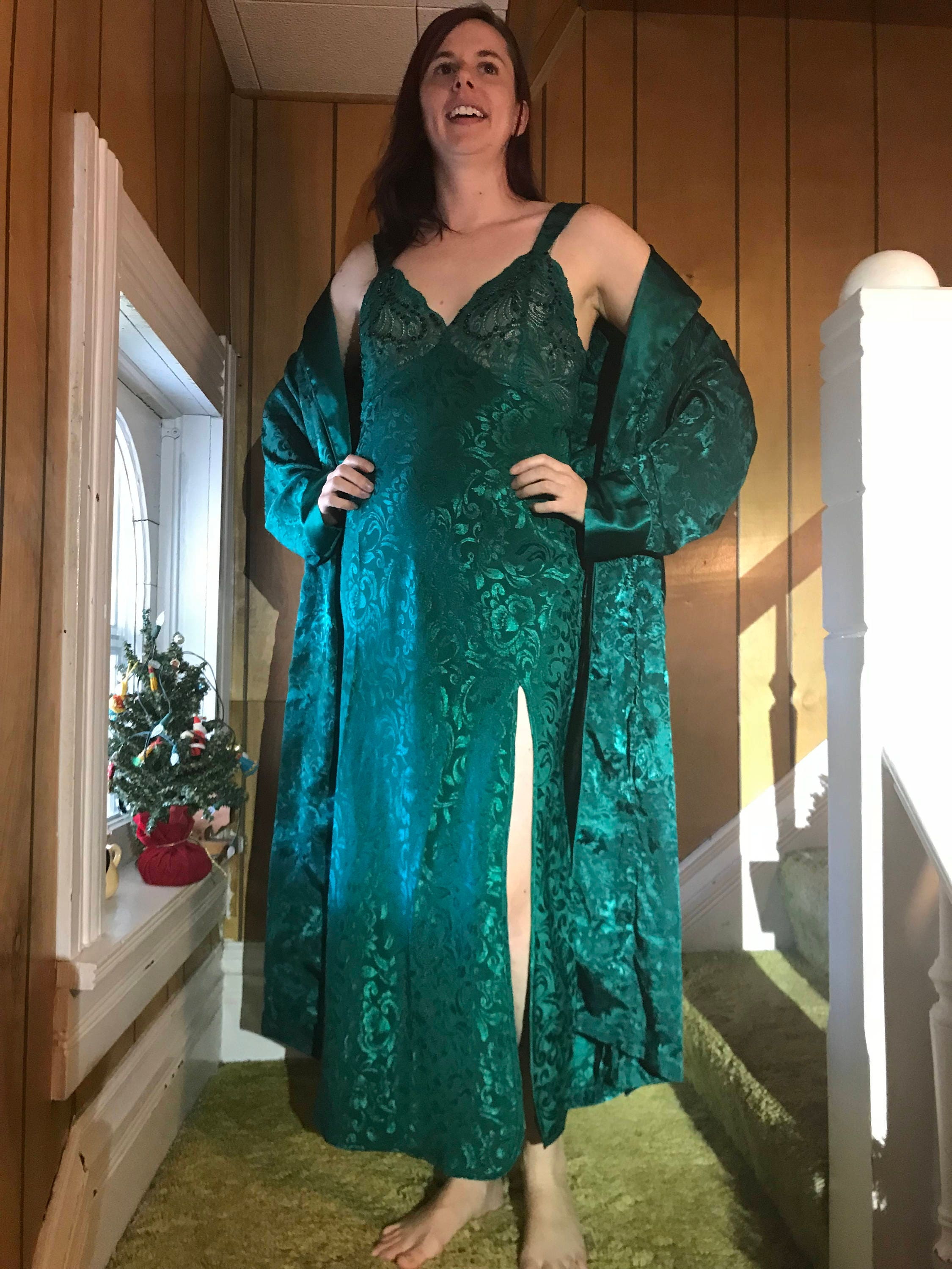 Victoria's Secret Nightgown Robe Set Embellished Emerald Green Jacquard Satin/Gold Crown Label/1980s/Small/Luxurious/Deep Front Slit/Long