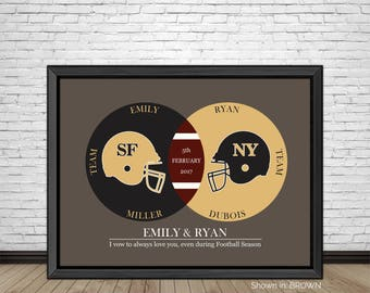 Custom Love of Football, Venn Diagram, Football Sports Teams, Favorite Football Teams, Gift for Couples, Valentines Day Gift, Art Prints