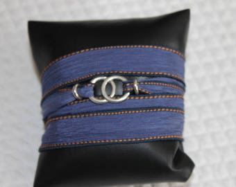 Bracelet blue silk ribbon 2 rings