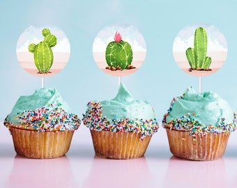 Printable Cactus Stickers | Watercolor Cactus | Instant Download PDF | Fiesta Cupcake Toppers | Gift Stickers | Fiesta Sticker