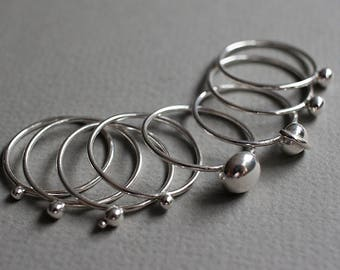 Hand Made Solid Sterling Silver Planetary Solar System Stacking Rings Made To Order