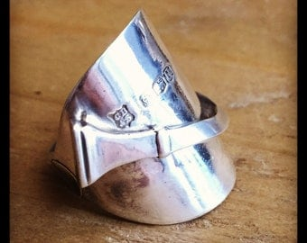 1937 silver tea spoon ring with visable hallmark