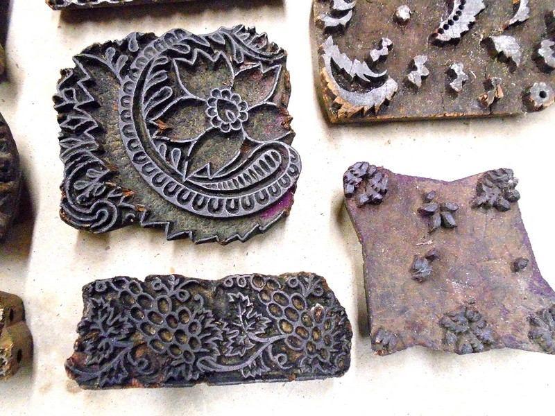 Antique vintage large wood stamps set of hand carved