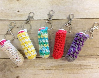 Chapped Lip Balm Holder, Lip Balm Keychain, Crochet Lip Balm Key Chain, Knitted Accessory, Crochet Accessories, Lip Balm Holder