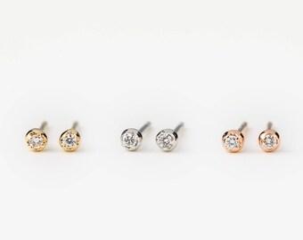 Tiny diamond studs earrings, 1.5mm white diamond, 14k yellow gold, rose gold, white gold, dainty diamond earrings, dal-e101-1.5mm-dia
